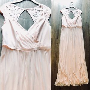 David's Bridal petal pink dress with lace detail